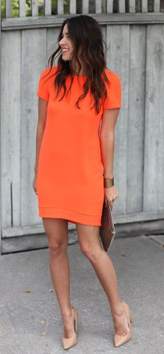summer outfits Orange Dress + Nude Pumps