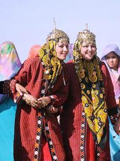 Iranian ladies in beautiful traditional Turkmeni clothing, Bandar-e Turkmen - Iran ..  Iran has many different ethnic groups each with their own lovely costumes and traditions.