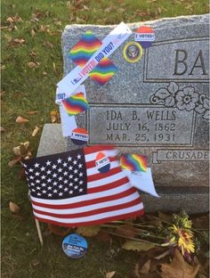 People are visiting Ida B. Wells tombstone to pay their respects and affirm that they exercised their right to vote, November 2016.  Photo credit to Dira Sudis