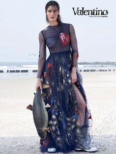 """Temporada De Pesca"" Hilary Rhoda in Valentino Fall 2014 for Vogue Brazil August 2014 by Zee Nunes"