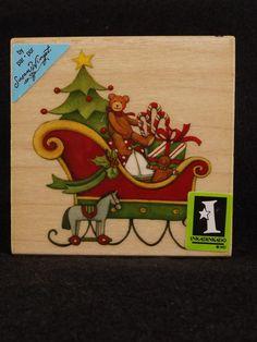 Rubber Stamp Susan Winget Sleigh Christmas Teddy Bear #Inkadinkado #SusanWingetrubberstamp