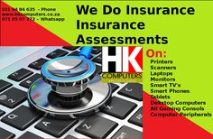 Insurance assessments done in Cape Town South Africa & South Africa at large. Shock damage, Liquid damage (water etc), Heat damage, Lightning damage, Surge damage, Malfunctioning Software & Hardware.