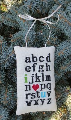 Free cross stitch pattern inspired by stuff seen on Pinterest! Neat. I love you alphabet cross stitch..