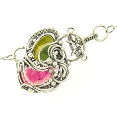 """Rosa y Flor"" Watermelon Tourmaline handwoven wire necklace by Sabrinah Renee"