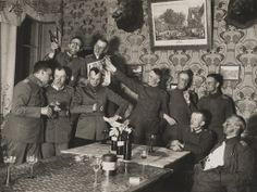 German officers of Flieger Abteilung 280 have a party at a house where they are stationed near the Western Front, in this 1918