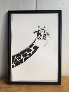 Excited to share the latest addition to my #etsy shop: Giraffe print, Animal art, baby room art, black and white giraffe, animal nursery art,