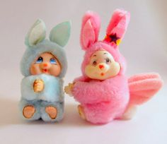 SALE Vintage 80's Easter Plush Bunny Rabbits by teresatudor, $12.99
