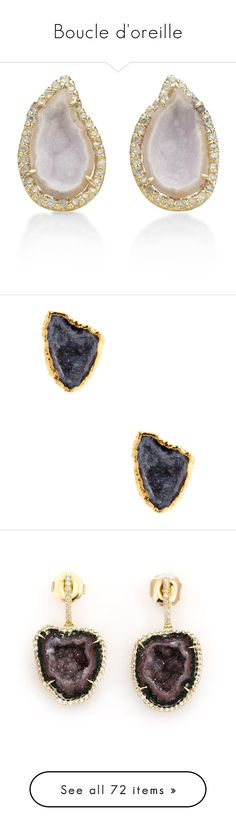 """Boucle d'oreille"" by mat-beades ❤ liked on Polyvore featuring jewelry, earrings, diamond earrings, geode earrings, geode stud earrings, 18k jewelry, 18k diamond earrings, black, janna conner jewelry and 18 karat gold earrings"