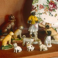 A collection of antique porcelain dogs reflects the Duke and Duchess of Windsor's lifelong love of pugs
