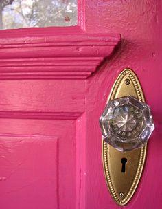 Feng Shui door via Feng Shui Dana's blog :: loving that it is well worn, but freshly painted perfectly pink!