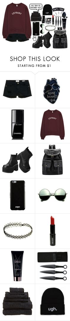 """::untitled #16::"" by cottoncandyprince ❤ liked on Polyvore featuring Frame Denim, Chanel, T.U.K., Givenchy, Revo, Lord & Berry, Yves Saint Laurent, Old Navy, grunge and Crybaby"