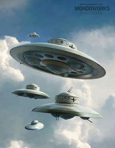 In UFOlogy, conspiracy theory, science fiction, and comic book stories, claims or stories have circulated linking UFOs to Nazi Germany. The German UFO theories describe supposedly successful attemp… Alien Spaceship, Spaceship Design, Aliens And Ufos, Ancient Aliens, Terre Plate, Alien Ship, Templer, Classic Sci Fi, Alien Worlds