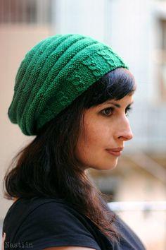 Kelly green knit beanie hat Slouchy knit beanie Womens by Nastiin