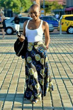 Bald beauty with ankara skirt