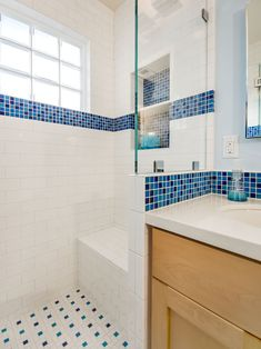 traditional white and blue bathroom pacific glass block satin white pinwheel white subway tile with blue