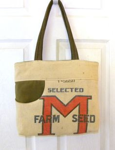 Vintage Selected M Farm Seed  bag upcycled by LoriesBags on Etsy