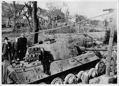 "Panzer Königstiger ""104"" belonging to Unterscharfurer ""Sepp Franzl"", 1st company ""Schwere SS-Panzerabteilung 501"" in La gleize, into a narrow street called ""Way old way""."