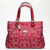 Poppy metallic signature glam tote by coach