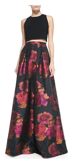 Carmen Marc Valvo Floral-print Ball Skirt, Black/Fuchsia