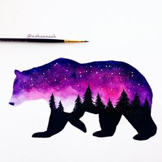 Ideas Sharpie Art Ideas Draw Water Colors For 2019 Animal Paintings, Animal Drawings, Cute Drawings, Galaxy Painting, Galaxy Art, Arte Disney, Disney Art, Silhouette Painting, Disney Drawings