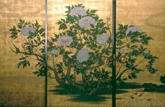 Detail. Fusuma from Peony Room (artist: Kano Sanraku) (Daikaku-zi Temple, Kyoto). It was completed in 1673 was designated as an important cultural property of Japan.
