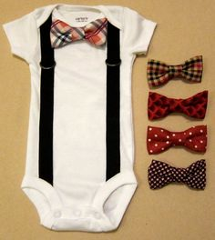Baby Boy Outfit - Suspender Onesie with removable bow ties