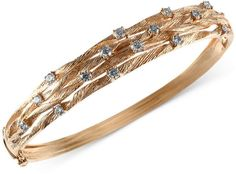 D'Oro by EFFY Diamond Textured Bangle (1 ct. t.w.) in 14k Gold on shopstyle.com