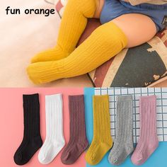 48212c34b17 Fun Orange Cute Baby Knee Socks Newborn Infant Baby Cotton Knee High Socks  Children Baby Girls Boys Socks For Age 0-4 Years