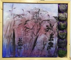 Mixed media piece made from wedding favour heart tins and silkscreen/paint on canvas by Sue Batt