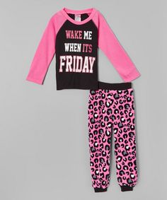 Look at this 1000% Cute Black 'Wake Me' Fleece Pajama Set - Girls on #zulily today!