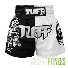 Tuff Black and White Muay Thai Shorts with Tiger Graphic