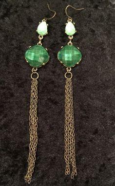 """Costume Jewelry Earrings Long Goldtone Green Beaded Lightweight Hook Drop 6 1/4"""""""