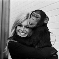 brigitte bardot and a chimp ♥ Beautiful ♥ Veg ♥ Animal Rights Activist ♥ Bardot Animal, Fondation Brigitte Bardot, Bardot Brigitte, Divas, Bb Style, Art Photography Portrait, Portraits, Most Beautiful Faces, Beautiful People