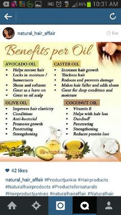 Benefits of natural oil, avacado oil, castor oil, olive oil, and coconut oil