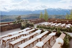 For a wedding at the Amangani Resort in Jackson Hole, Wyoming, Helmstetter brought in benches, sheepskins, and white blooms to complement the site's backdrop of the Grand Teton.   Photo: Carrie Patterson