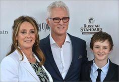 John Slattery (center), with wife Talia Balsam, and son Harry Slattery.