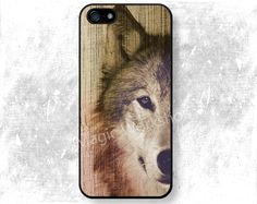 iPhone 4 4S 5 5S 5C 6 6 Plus case, iPhone 4 4S 5 5S 5C 6 6 Plus cover, Wolf on Wood