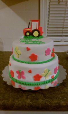 John Deere Pink Birthday Cake