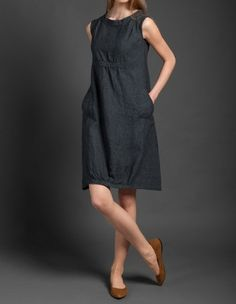 Pure linen dress dark gray dress for summer woman dresses for summer midi dress linen clothing linen clothes summer fashion organic EUR) by HomeOfNature -LINEN DRESS Dark grey linen dress from specially-washed, shrink-resistant linen fabric. Dress For Summer, Summer Dresses, Linen Dresses, Cotton Dresses, Mode Ab 50, Beauty And Fashion, Mode Style, Simple Dresses, Gray Dress