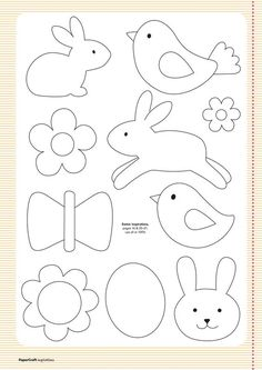 Free templates from your april issue papercraft inspirations easter clipart ideas Applique Templates, Applique Patterns, Applique Designs, Easter Templates, Bird Template, Owl Templates, Crown Template, Heart Template, Felt Flower Template