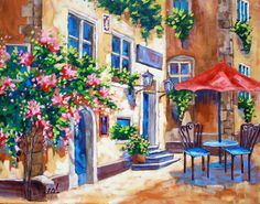 Original Oil Painting SUNLIT AFTERNOON Landscape Flowers Tree Umbrella Cafe by Rebecca Beal