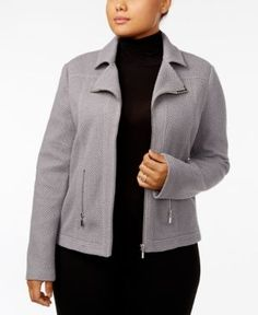 Alfani Plus Size Textured Moto Jacket, Created for Macy's - Gray 2X