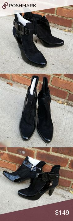 NWOB Pour la Victoire booties 9.5 I purchased these for myself and have never worn tthem. 4 in heel. Patent and suede.  I do not have the original Box. There is not any possibility of me modeling as I have 2 broken arms and was in a car accident. Reasonable offers welcome Pour La Victoire Shoes Ankle Boots & Booties