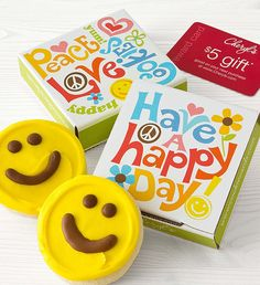 Happy Day Cookie Card - Yellow | Happy Face Cookies | Cheryls.com | Brighten their day with a sweet individually wrapped buttercream frosted happy face cookie tucked inside a cheerful box!