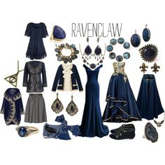 "OMG and I thought the Gryffindor outfits were beautiful!""A ravenclaw's wardrobe"" by jennifer-shiress-hendrick on Polypore Mode Harry Potter, Harry Potter Dress, Harry Potter Cosplay, Harry Potter Style, Harry Potter Outfits, Harry Potter Fandom, Ravenclaw, Anniversaire Harry Potter, Cosplay Costume"