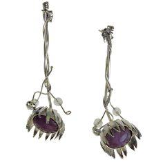 Sterling Silver Wildflower Earrings. Handmade rhodium plated 925 sterling silver earrings with amethyst stones