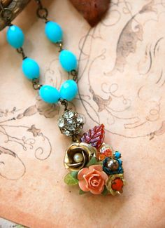 Autumn memories. aqua bluevintage collage locket by tiedupmemories