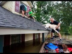 See the view from the boat as off-duty Lafourche Parish Sheriff deputies rescue a family from the rooftop of their flooded home in East Baton Rouge Parish. East Baton Rouge Parish, Louisiana Swamp, Water Rescue, Song Of The South, Hurricane Katrina, Sheriff, La Flooding, Off Duty, New Orleans