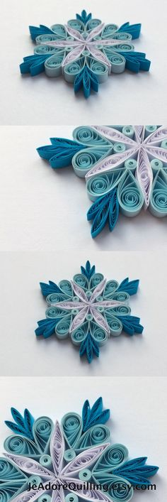 Snowflakes Blue White Frosty Christmas Tree Decor Winter Ornaments Gift Toppers Fillers Office Corporate Paper Quilling Quilled Handmade Art