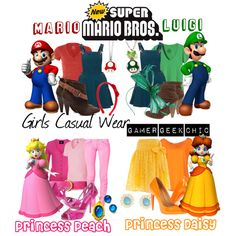 """Super Mario Bros. - Mario, Luigi, Princess Peach, & Princess Daisy"" by gamer-geek-chic on Polyvore"